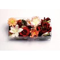 Papel floral surtido d`rot, tinto, rosado