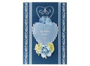 Embellishments / Verzierungen Paper Floral assortment, blue, green, white