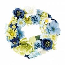 Embellishments / Verzierungen Papierblümchensortiment, blau, grün, weiss