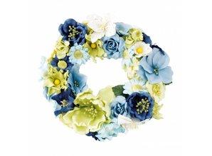 Embellishments / Verzierungen Papel variedad floral, azul, verde, blanco