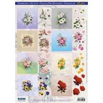 """3D udstansede plader, mini, """"blomster"""""""