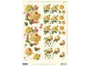 "BILDER / PICTURES: Studio Light, Staf Wesenbeek, Willem Haenraets 3D Die Cut sheet: 6 motives ""yellow roses"""