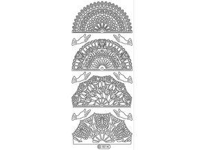 Sticker Ziersticker, fan white, outline, 10x23cm