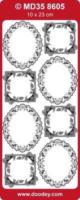 Sticker Ziersticker, fotorammer blomster, 10x23cm