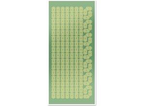 Sticker Klistermærker, Kniplingeborten og hjørner, guld-folie spejl grøn, format 10x23cm