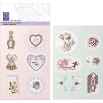 Relieve Glitter Stickers del vintage romántico Kollection,