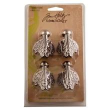 Embellishments / Verzierungen Angolo metalen, Fondazioni angolari in metallo, 10x17cm 4 pezzi.