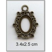 Bedel - frame, metalen, 3,4 x 2,5 cm.