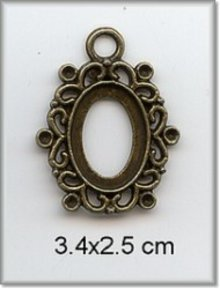 Embellishments / Verzierungen Charm - frame, metal, 3.4 x 2.5 cm.