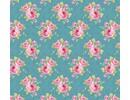 Tilda Cotton fabric, Grandma's Rose, blue, 50 x 70cm, 100% cotton.