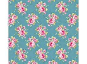 Tilda Bomuldsstof, bedstemor Rose, blå, 50 x 70cm, 100% bomuld.