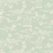 Tilda bomuldsstof, Toile Birdcage, mynte, 50 x 55 cm, 100% bomuld