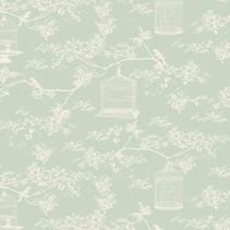 Tilda katoenen stof, Toile Birdcage, mint, 50 x 55 cm, 100% katoen