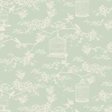 Tilda Baumwollstoff, Birdcage Toile, mint, 50 x 55 cm, 100% Baumwolle