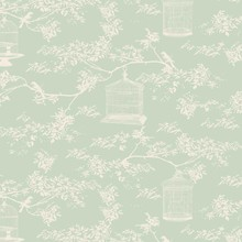 Tilda Tessuto Tilda cotone, Birdcage Toile, menta, 50 x 55 cm, 100% cotone