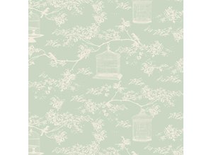Tilda Tilda cotton fabric, Toile Birdcage, mint, 50 x 55 cm, 100% cotton