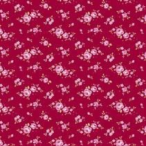 Baumwollstoff, Mini Rose, rot, 50 x 55 cm, 100% Baumwolle