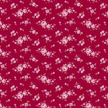Katoenen stof, mini rozen, rood, 50 x 55 cm, 100% katoen