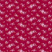 Tilda Bomuldsstof, mini rose, rød, 50 x 55 cm, 100% bomuld