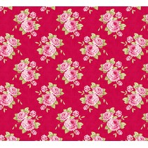 Baumwollstoff Grandma's Rose, rot, 50 x 70 cm, 100% Baumwolle
