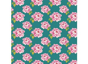 Tilda Cotton fabric, Tilda bit, 50 x 70cm, Teal Peony Cotton