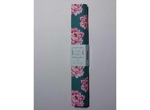 Tilda Bomuldsstof, Tilda bit, 50 x 70cm, Teal Peony Cotton
