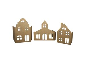 Objekten zum Dekorieren / objects for decorating Great craft kit: paper mache Set - Facade village with 3 houses!
