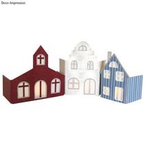 Geweldige ambachtelijke kit: papier mache Set - Gevel dorpje met 3 huizen!