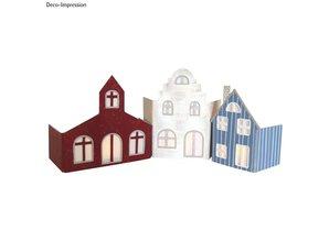 Objekten zum Dekorieren / objects for decorating Gran juego de nave: papel maché Set - pueblo Fachada con 3 casas!