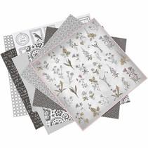 1 pakke med 6 forskellige stilarter, ark 30,5 x 30,5 cm