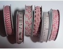 DEKOBAND / RIBBONS / RUBANS ... 6 Dekobänder, 3-10 mm x 1,8 m, Sortiment mit 6 sort. Design, rot