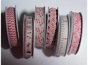 DEKOBAND / RIBBONS / RUBANS ... 6 Bånd, 3-10 mm x 1,8 m, sortiment med 6 ass. Design, rød