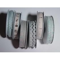 6 Ribbons, 3-10 mm x 1.8 m, range with 6 asstd. Design, light blue