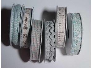 DEKOBAND / RIBBONS / RUBANS ... 6 Bånd, 3-10 mm x 1,8 m, sortiment med 6 ass. Design, lyseblå