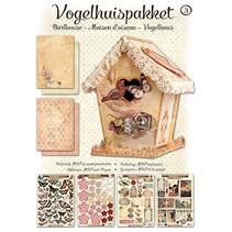 Bastelset 04: MDF y decoración de la casa del pájaro de papel, 17cm.