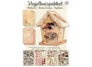Objekten zum Dekorieren / objects for decorating Bastelset 04: MDF og papir fugl hus dekoration, 17cm.