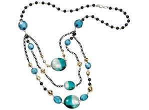 Schmuck Gestalten / Jewellery art Jewelry Craft Kit Trend Line Ocean, petrol-black material for a chain.