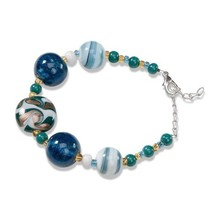 Schmuck Gestalten / Jewellery art Ready Serafina Bracelet 1, turquoise, white and gold, 18cm, with regulatory chain and carabiner