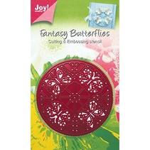 Ponsen en embossing stencil, stencil round, vlinders, 6002 0244, 89 mm diameter
