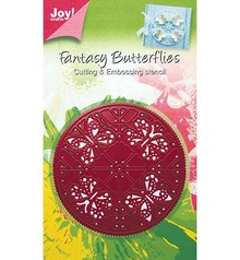 Joy!Crafts und JM Creation Stansning og prægning stencil, stencil runde, sommerfugle, 6002 0244, 89mm diameter