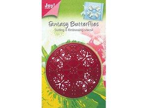 Joy!Crafts und JM Creation Joy Crafts, Stanz- und Prägeschablone,Stencil Rund, Schmetterling, 6002 0244, 89mm Durchmesser