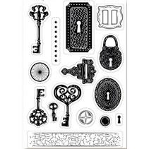 A6 postzegel motief, transparanten, sleutel, 15 x 10cm.