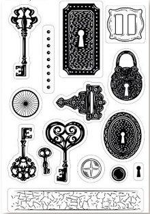 Stempel / Stamp: Transparent A6 Frimærkemotivet, transparenter, nøgle, 15 x 10cm.