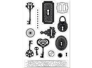 Stempel / Stamp: Transparent Kanban Frimærkemotivet A6, transparenter, nøgle, 15 x 10cm.