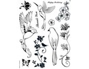 Stempel / Stamp: Transparent Kanban stempel motiv, transparent, Birds of Paradise, 14 x 18 cm.