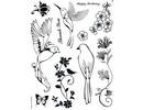 Stempel / Stamp: Transparent Motivo Kanban sello, transparentes, aves del paraíso, de 14 x 18cm.