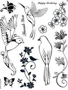 Stempel / Stamp: Transparent Kanban motivo timbro, trasparenti, uccelli del paradiso, 14 x 18 centimetri.
