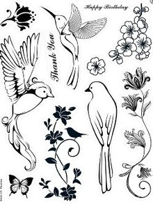 Stempel / Stamp: Transparent Kanban stamp motif, Transparent, Birds Of Paradise, 14 x 18cm.