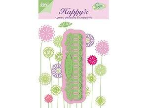 Joy!Crafts und JM Creation Joy Crafts, Cutting, Embossing & Embroidery Shablone, 6002 1102, Bordure flowers, 126.5 x 33.5 mm