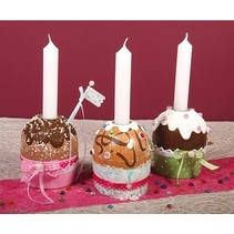 Paper mache muffin tin with aluminum candle holder